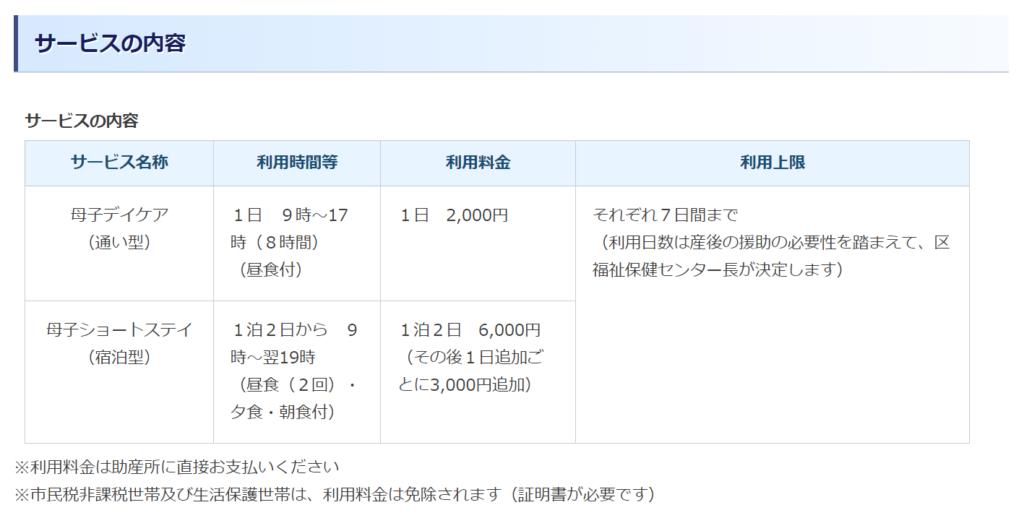 横浜市の産後ケア事業価格